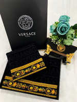 Набор полотенец  Vercace выработанное ( черное )