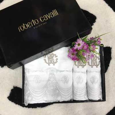"""Набор полотенец Roberto Cavalli с кружевом """" белый"""""""