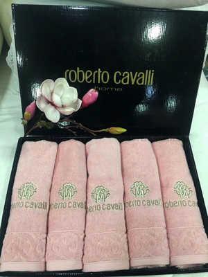 """Набор полотенец Roberto Cavalli с вышивкой """" Элит"""" розовое"""