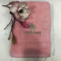 """Полотенца банное  """"Roberto Cavalli""""  - Элит розовое (с вышивкой)"""