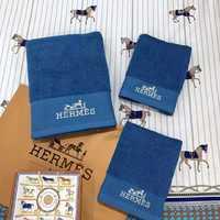 Набор полотенец HERMES с вышивкой - синее