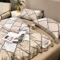 Набор - Белье Roberto Cavalli с шелковым  одеялом из ткани Тенсель - Клетка