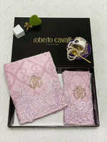 Набор полотенец Roberto Cavalli с кружевом - розовое Галла