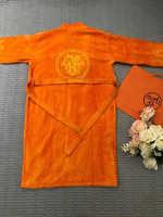 Халат  HERMES хлопковый с вышивкой ( Оранжевый )