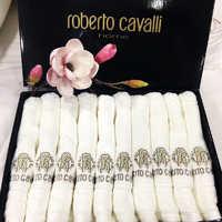 Набор полотенец- салфеток Roberto Cavalli с вышивкой ИЗ 10 ШТУК  ( молочное )